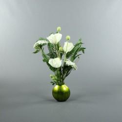 Bois laqué St Bart vert M - Coquelicot blanc