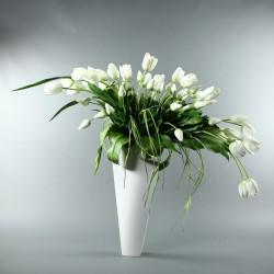 Bois laqué - BAHAMAS blanc - Bouquet Tulipes, Ail - Blanc 120cm