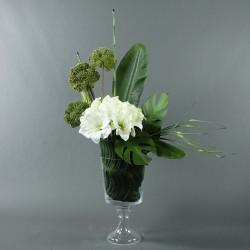 Gobelet M - Amaryllis blanc, feuilles exotiques