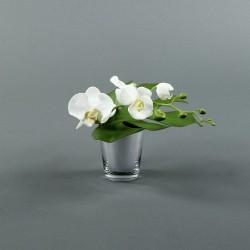 Pot silver - Orchidée blanc