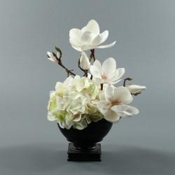 Bois noir M - Bouquet blanc Hortensia, Magnolia