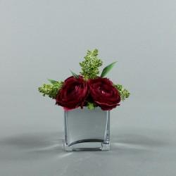 Cube M Silver - Renoncule rouge fushia, Skimmia