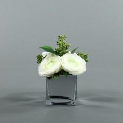 Cube M Silver - Renoncule blanc, Skimmia
