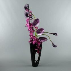 Bois Laqué Maldives noir GM - Orchidée spider fushia, Arum, Anthurium