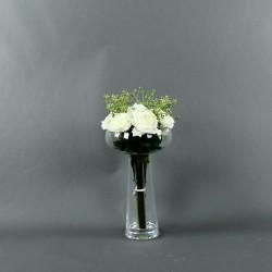 Coupe L clear - Bouquet de roses blanc, Tige ensemencée