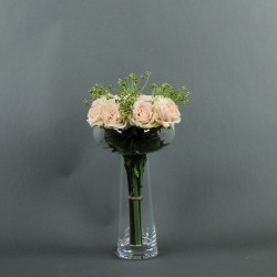 Coupe L clear - Bouquet de roses rose, Tige ensemencée
