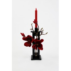 Bougeoir fin PM Black - Magnolia fushia