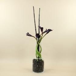 Bottle Vase M - Arum pourpre, bambou