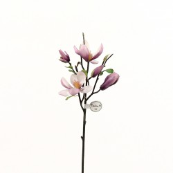 Magnolia branche avec feuilles 51cm - Fushia