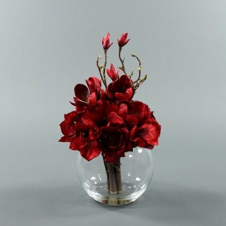 Boule L - Bouquet rouge Amaryllis, Magnolia, Hortensia, Rose