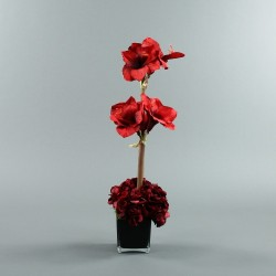 Cube L black - Amaryllis, Hortensia rouge