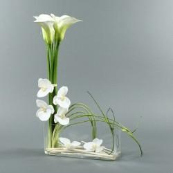 Rectangle L - Arum x5 et Orchidée blanc
