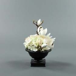 Bois noir S - Bouquet blanc Hortensia, Magnolia