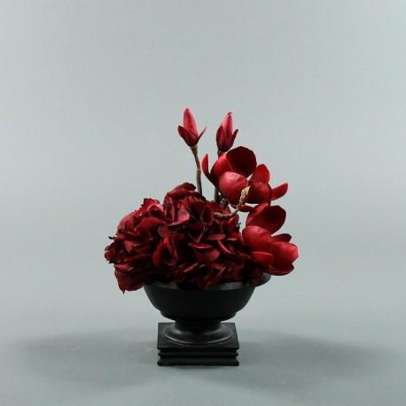 Bois noir S - Bouquet rouge Hortensia, Magnolia