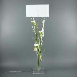 Flat XL - Arum blanc vert, Bois flotté blanc