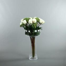 Coupe L clear - Bouquet de roses blanc, Skimmia
