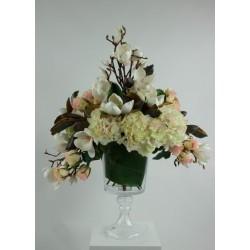 Gobelet M - Bouquet Magnolias, Hortensias, Rose - Blanc & Rose