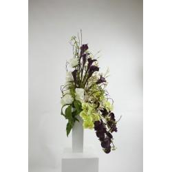 Vase Blanc - Bouquet Orchidée, Rose, Arum, Baie - Pourpre, Blanc