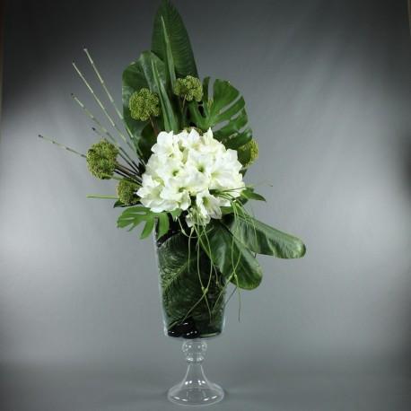 Gobelet XL - Amaryllis blanc, feuilles exotiques
