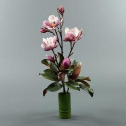 Bambou M - Magnolia ouvert et bouton fushia (79905)