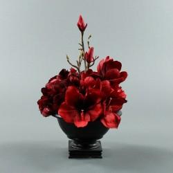 Bois noir M - Bouquet rouge Amaryllis, Hortensia, Magnolia