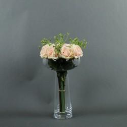 Coupe L clear - Bouquet de roses rose, Tige ensemencée