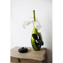 Bois laqué - ST TROPEZ PM vert - Orchidée blanc