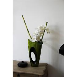 Bois laqué - MALDIVES PM vert - Bambous/Orchidée blanc